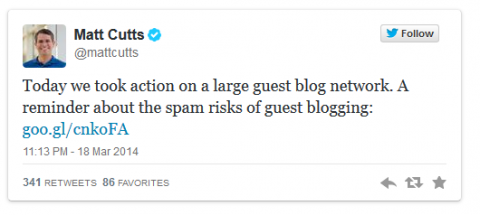 Matt Cutts Tweet MyBlogGuest