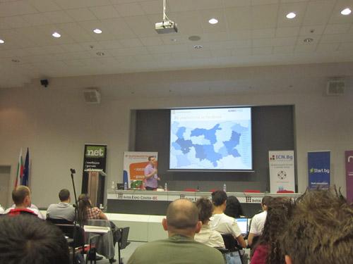 Евгени Йорданов по време на презентацията си на SEO Конференция 2011