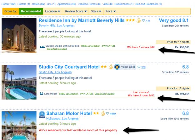 Чувството за спешност при резултатите от Booking.com