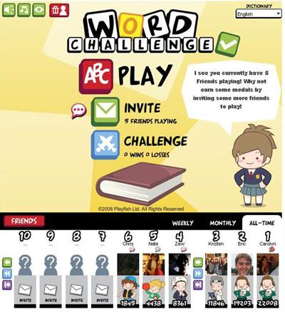 Facebook Фейсбук игра - Word Challenge